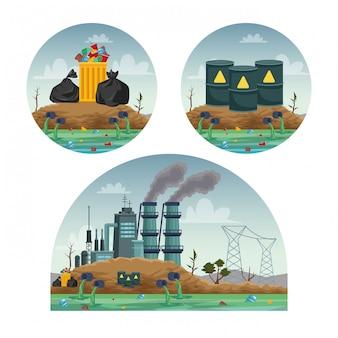 Indústria fabril poluindo as cenas da água