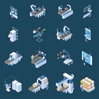 Indústria inteligente com controle remoto de fabricação robotizada e ícones isométricos de data center de produção isolados