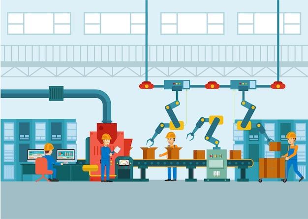 Indústria inteligente com robótica dentro