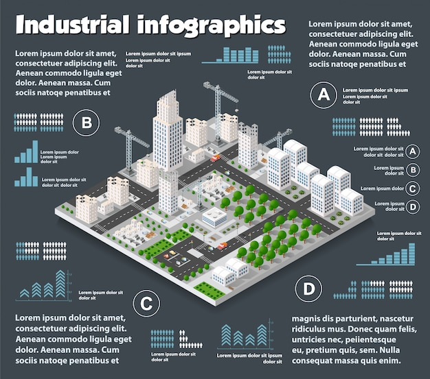 Indústria isométrica da cidade