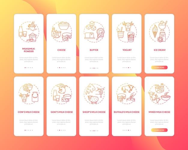 Indústria láctea vermelha na tela vermelha da página do aplicativo móvel com o conjunto de conceitos.
