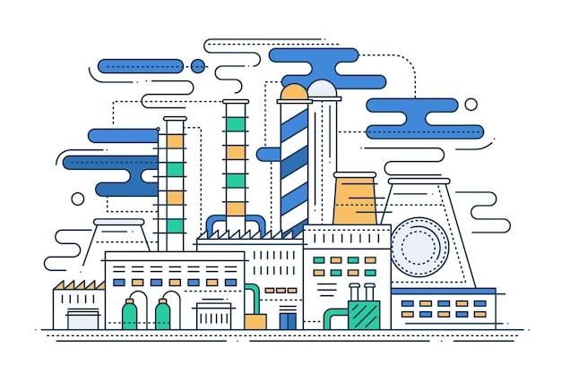 Indústria pesada - ilustração em vetor linha moderna design plano composição de cidade com uma fábrica
