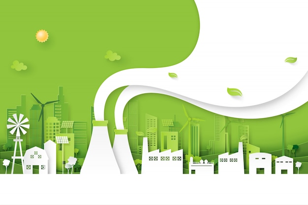 Indústria verde na cidade amigável eco fundo estilo de arte de papel