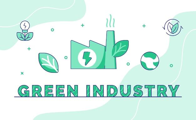 Indústria verde, tipografia, caligrafia word art com estilo de contorno
