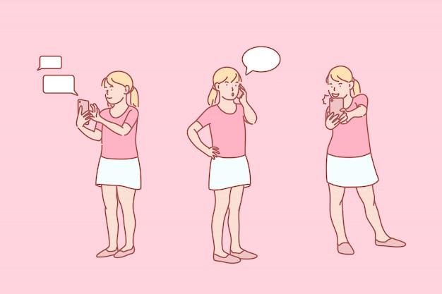 Infância, on-line, vício, telefone, conjunto, ilustração.
