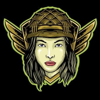 Infantaria de mulher com capacete e asas logotipo mascote design