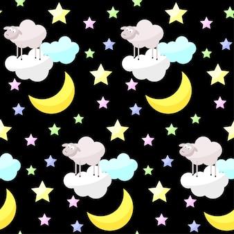 Infantil boa noite brilhante vetor engraçado sem costura de fundo. lua, nuvem, estrela, ovelha dos desenhos animados.