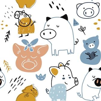 Infantil, seamless, padrão, com, engraçado, porco
