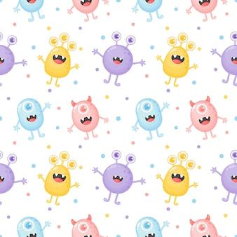 Infantil sem costura padrão bonito monstro engraçado dos desenhos animados
