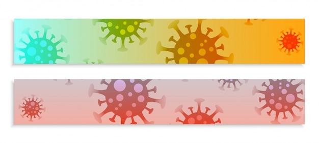 Infecção por coronavírus espalhar banners grandes conjunto vector