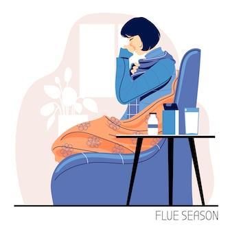 Infecções e temporada de gripe com ilustração de pessoas doentes