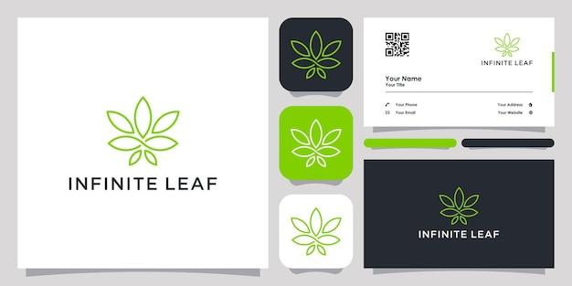 Infinite folha de cannabis logotipo ícone símbolo modelo logotipo e cartão de visita