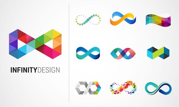 Infinito abstrato colorido, símbolos infinitos e coleção de ícones