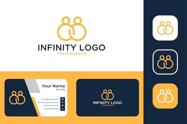 Infinito com design de logotipo de arte de linha de duas pessoas e cartão de visita