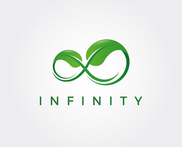 Infinity green eco logo design modelo de vetor de folha em loop produto orgânico logótipo ícone de símbolo de vetor de energia