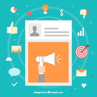 Influência do design de marketing com postagem
