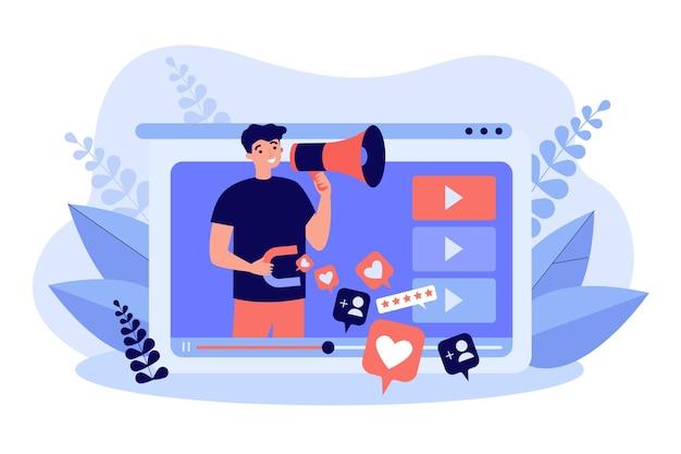 Influenciador com publicidade de produto ou serviço em megafone em seu canal de vídeo, obtendo curtidas.