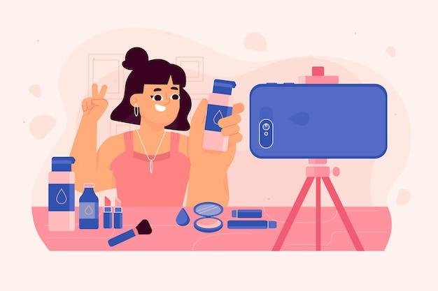Influenciador de maquiagem, gravando um novo vídeo