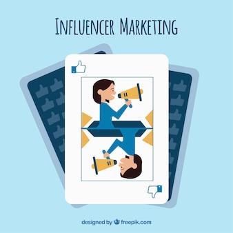 Influenciador de marketing no design de cartão de jogo