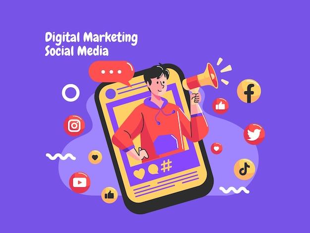 Influenciador e promoção de mídia social com megafone