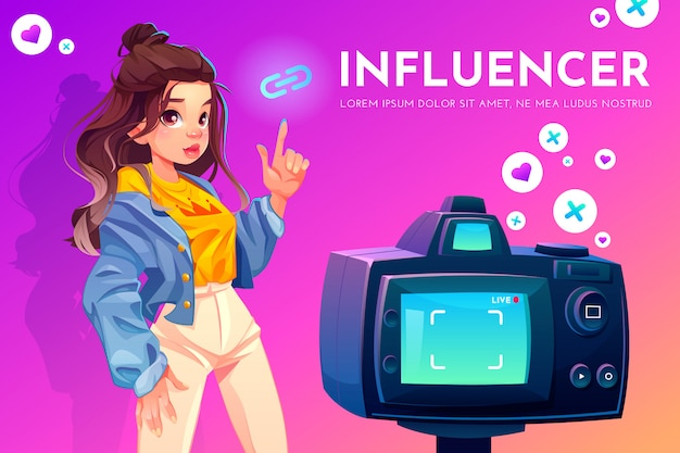 Influenciador garota vlog radiodifusão.