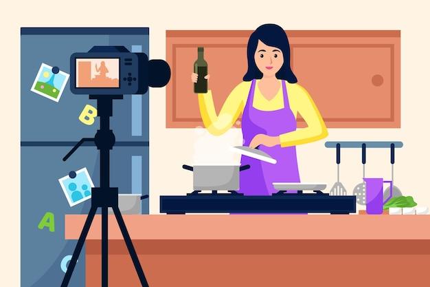 Influenciador gravando ilustração de vídeo