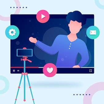 Influenciador gravando novo conceito de vídeo
