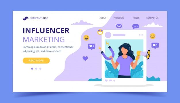 Influenciador marketing landing page com mulher segurando o megafone e ímã no quadro de perfil social.