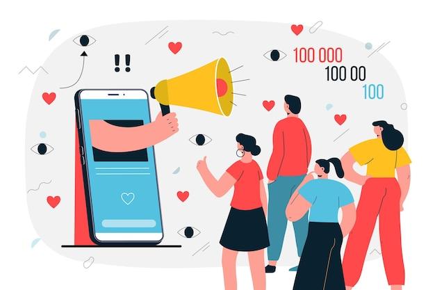 Influenciador na ilustração de mídia social