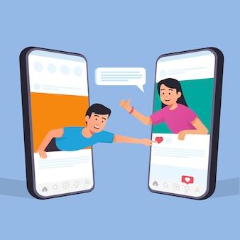 Influenciador obtém curtidas de amigos nas mídias sociais. conceito de influenciador de personagem de design plano.