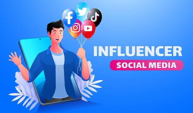 Influenciadores de mídia social ilustração homem segurando um balão com o ícone do logotipo de mídia social
