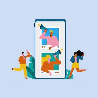Influenciadores em smartphone