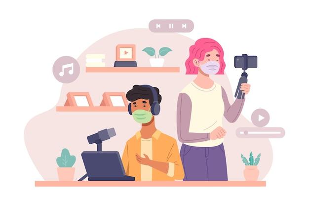 Influenciadores na ilustração de mídia social