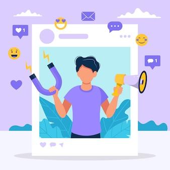 Influente da mídia social. ilustração com homem segurando o megafone e ímã no quadro de perfil social.