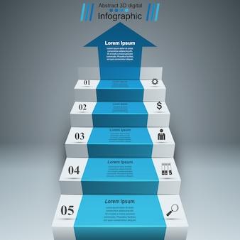 Infografia 3d e escada de negócios