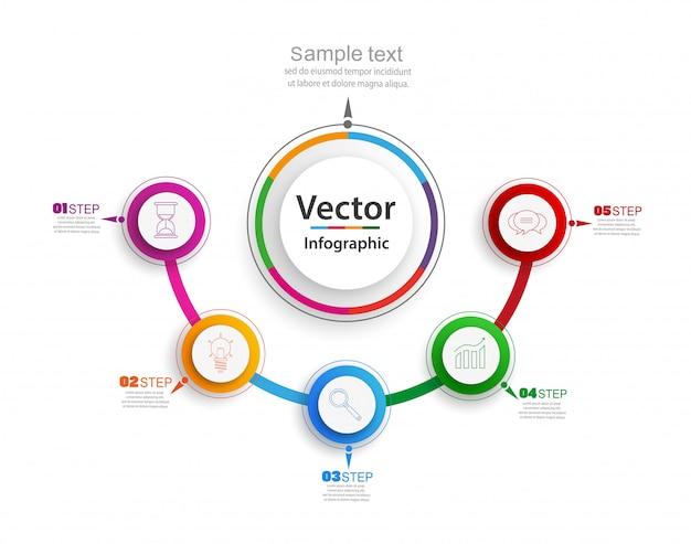 Infografia abstrata número modelo de opções com etapas e círculos coloridos