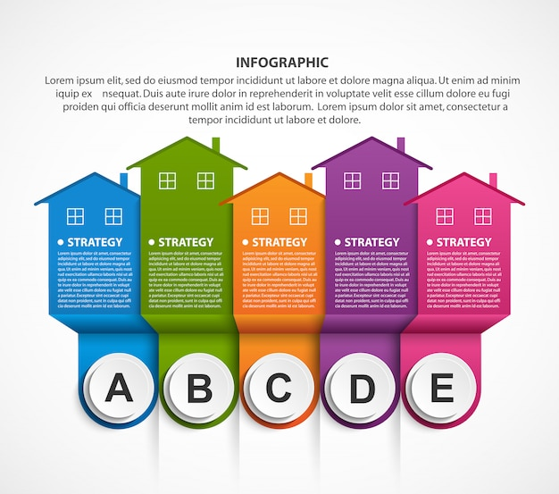 Infografia com casas coloridas.