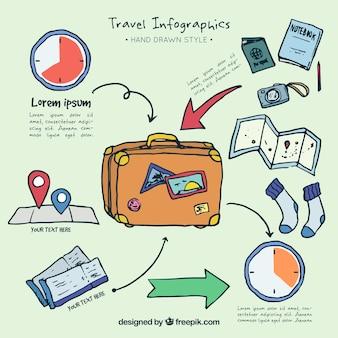 Infografia com elementos de viagem mão desenhada