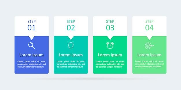 Infografia com quatro etapas