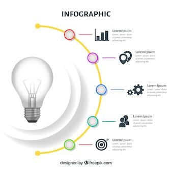 Infografia com uma lâmpada em design plano