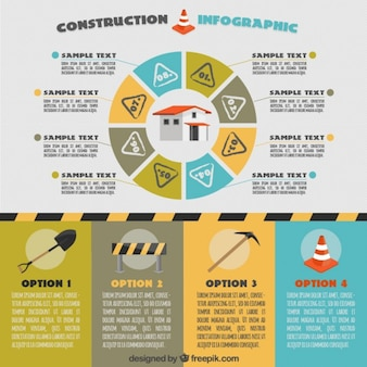 Infografia construção com gráfico circular