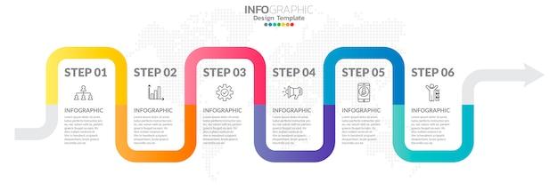 Infografia da linha do tempo com ícones de passo e marketing