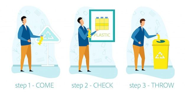 Infografia de ajuda informativa para reciclagem de lixo