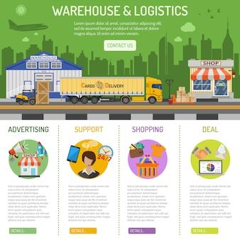 Infografia de armazém e logística