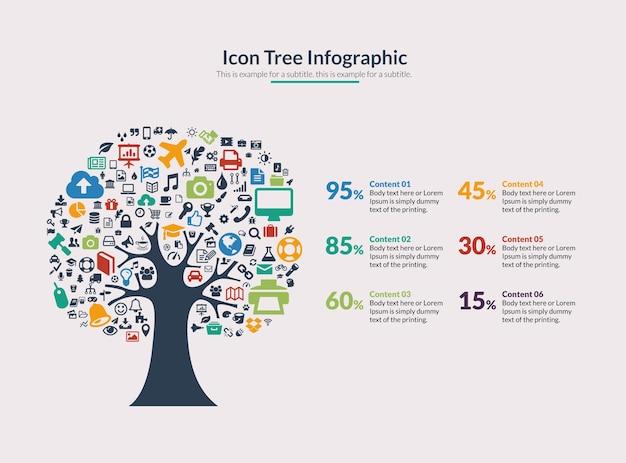 Infografia de árvore de ícones de vetores