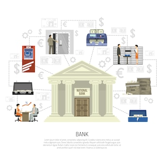 Infografia de banco plano