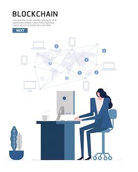 Infografia de blockchain. pessoas que usam computador se conectam com o dispositivo mundial do vento.