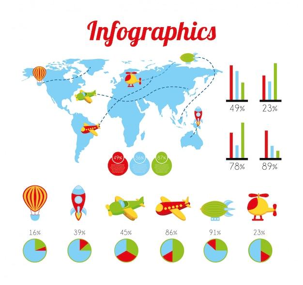 Infografia de brinquedos sobre ilustração vetorial de fundo branco