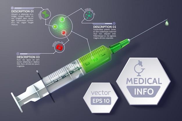 Infografia de ciência médica com texto de hexágonos de seringa em estilo realista