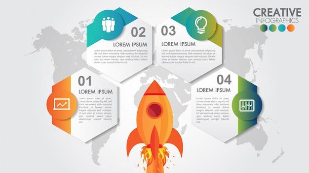 Infografia de círculo de inicialização com 4 opções de lançamento de foguete e mapa-múndi com estilo